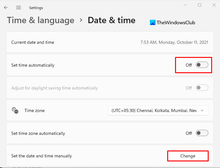How to Change Time and date on Windows 11