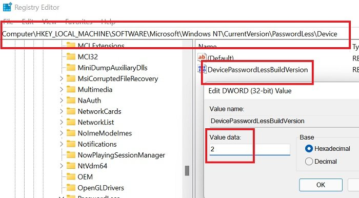 How to enable or disable passwordless sign-in only in Windows