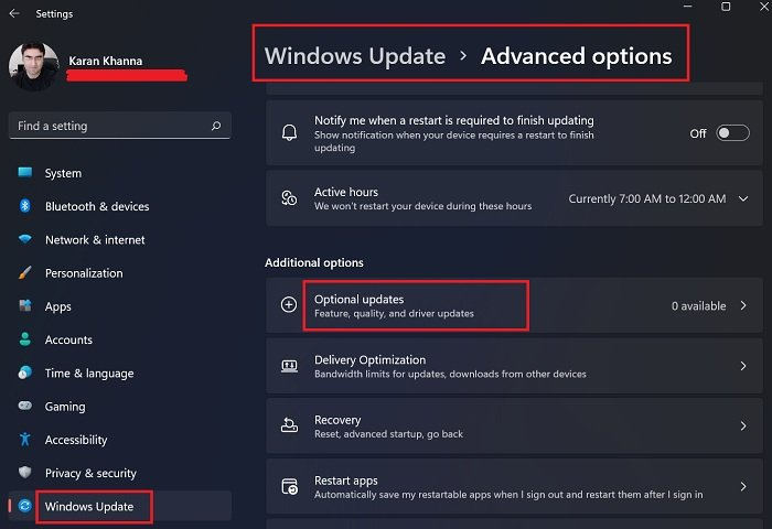 How to install Driver and Optional Updates in Windows 11