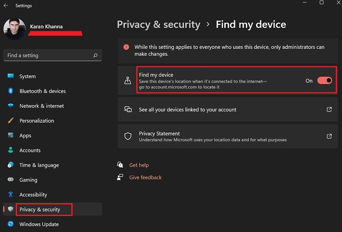 How to track a stolen laptop; Enable Find My Device first in Windows 11