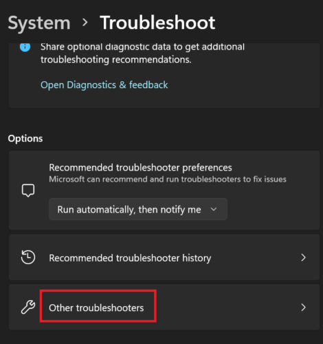 Other troubleshooters in Windows 11