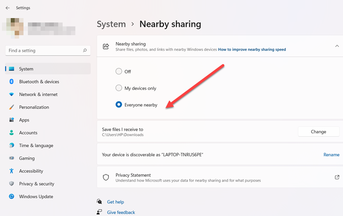 configure nearby sharing options
