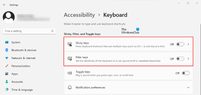 disable sticky and filter keys Windows 11