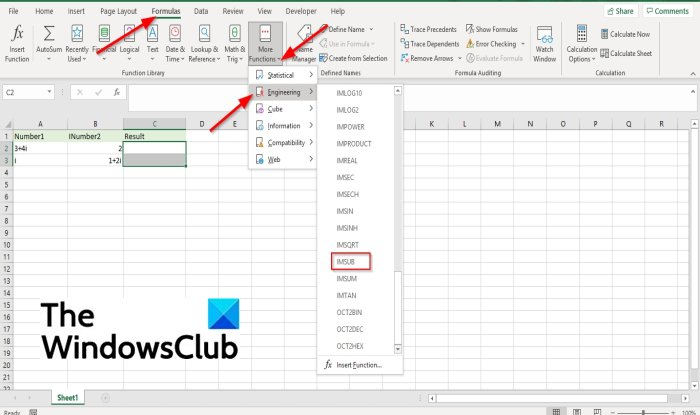How to use IMSUB formula in Excel