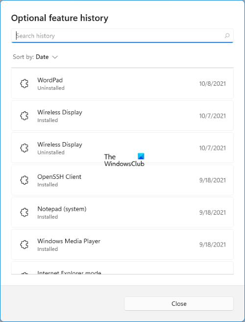 view Optional features history Windows 11